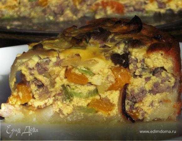 Картофельный пирог с сытной мясной начинкой