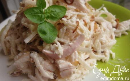 Рецепт Назад в СССР: Салат из редьки с мясом и луком