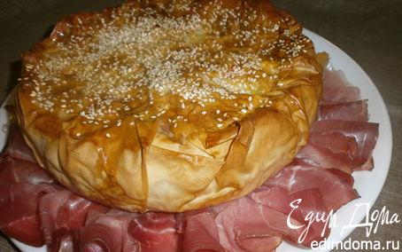 Рецепт Закрытый заливной пирог с сыром и грушами