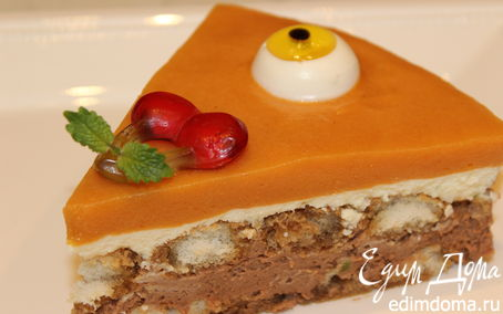 "Рецепт Шоколадно-лаймовый торт с хурмой ""Взгляд Циклопа"""