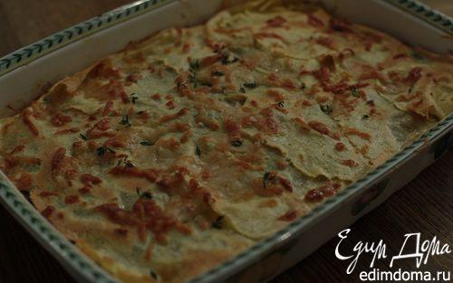 Рецепт Лазанья с грибами, козьим сыром и шпинатом