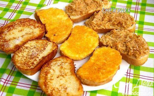 Рецепт Назад в СССР: Гренки сахарные, сырные и запеченные с яблоками