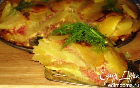 Рецепт Слоеный картофельный тортик с салями