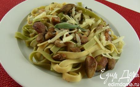 Рецепт Паста с каштанами, грибами и шалфеем