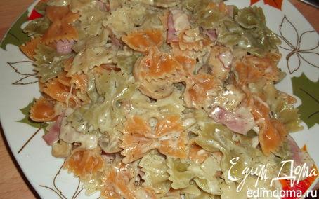 Рецепт макароны в сливках с грибами и беконом