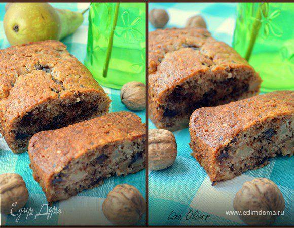 Ореховый кекс с грушами и шоколадом