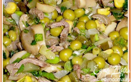 Рецепт Мясной салат с грибами