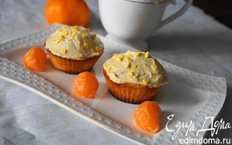 Рецепт Рождественские кексики с мандаринами и карамельным кремом