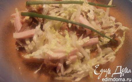 Рецепт салат из пекинской капусты с бужениной и вешенками