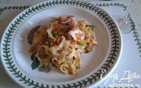 Рецепт домашние тальятелле с креветками, мини-кальмарами и овощами