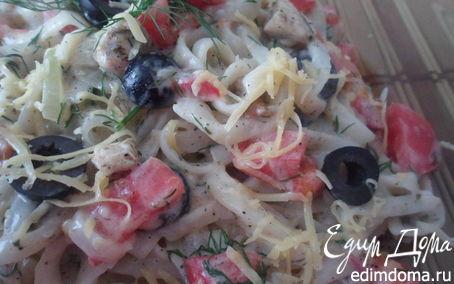 Рецепт Паста феттуччине со сливочным соусом и овощами