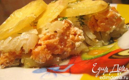 Рецепт Деликатная запеканка из форели и картофеля