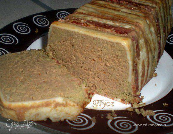 Телячья печень, запеченная с беконом