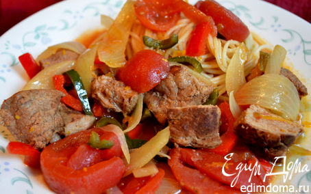 Рецепт Свинина, тушенная с перцем поблано