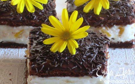 Рецепт Шоколадное пирожное с творожно-персиковым муссом