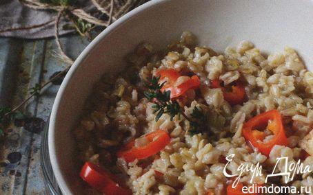 Рецепт Овсяная каша на курином бульоне со сладким перцем и тимьяном