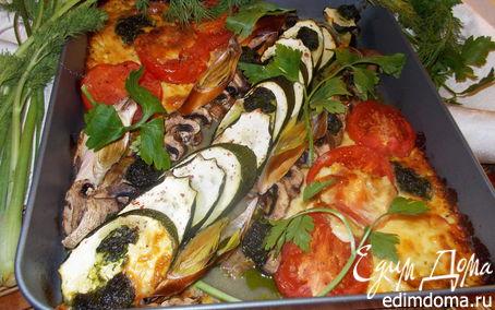 Рецепт Овощи, запеченные с брынзой и грибами