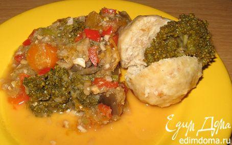 Рецепт Вареные тефтели с овощным гарниром