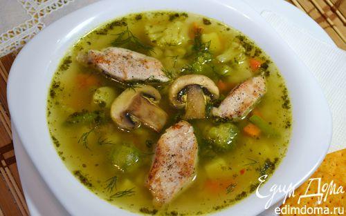 Рецепт Весенний суп с замороженными овощами и рисом