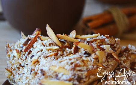 Рецепт Яблочные панкейки с миндалем, лавандовым медом и кокосовой стружкой