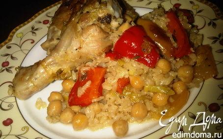 Рецепт Ароматная курица с горохом нут и бурым рисом