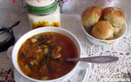 Рецепт Украинский борщ с фасолью и пампушками