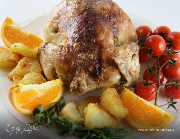 Запеченная курица/индейка с апельсином и эстрагоном + очень вкусный запеченный картофель