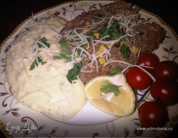 Митлоф по-мексикански и полента с сыром Горгонзола
