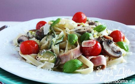 Рецепт Феттучине с овощами и сливочным соусом