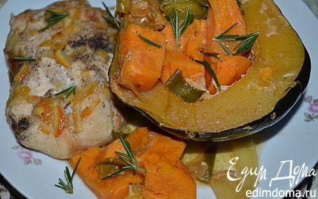 Рецепт Куриные грудки в апельсиново-кленовом сиропе с акорн тыквой и сладким картофелем