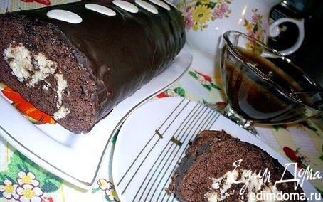 Рецепт Быстрый шоколадно-творожный рулет (выпекается вместе с начинкой)