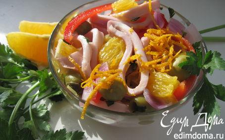 Рецепт Салат из маринованных кальмаров с красным перцем и апельсином