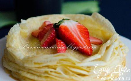 Рецепт Мильфей из креп с миндалем, цитрусовым курдом и клубникой