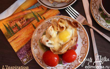 """Рецепт Блинные чашечки с грибами и яйцами """"На завтрак"""""""