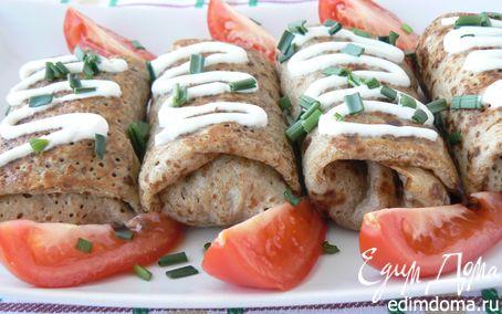 Рецепт Ржаные блины, фаршированные печенью и грибами