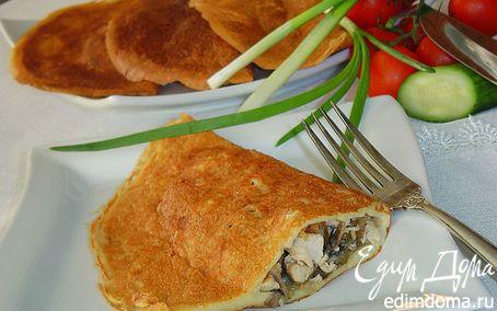 Рецепт Блинчатые пирожки с начинкой из курятины и грибов