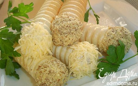 """Рецепт """"Трубочки"""" с закуской из грибов, сыра, балыка"""