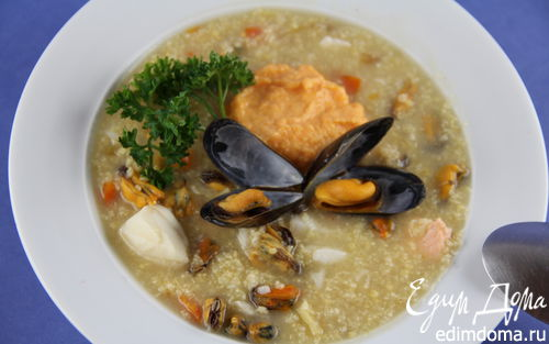 Рецепт Рыбная похлебка с мидиями, пшеном и тыквенной заправкой