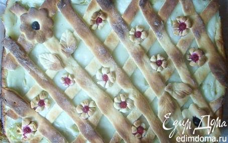 Рецепт Творожно-дрожжевой пирог с ревенем и ванильным кремом