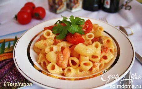 Рецепт Паста с водкой, семгой и помидорками черри