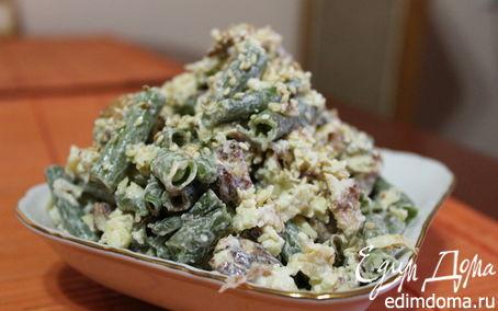 Рецепт Салат с омлетом и зеленой фасолью