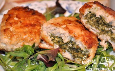 Рецепт Куриные зразы с творогом и шпинатом в пароварке