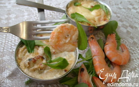 Рецепт Жюльен с креветками и мидиями