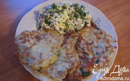 Рецепт Драники с селедочным салатом