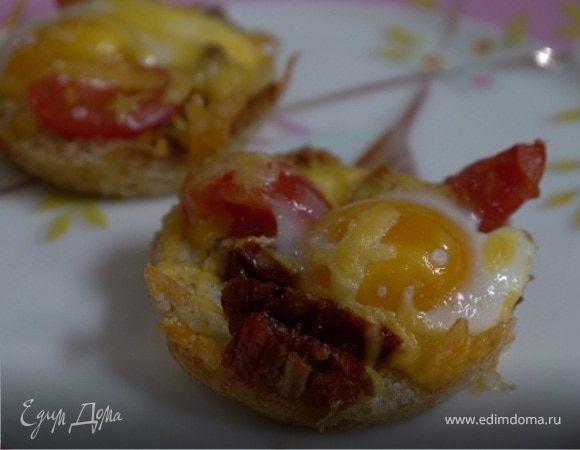 Хрустящие корзиночки с помидорами и перепелиными яйцами