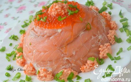 Рецепт Праздничный цукотто из форели с нежнейшим креветочным муссом, огурцом и сливочным кремом
