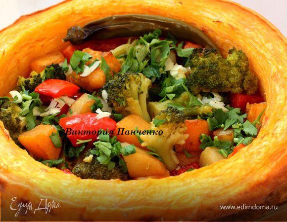 Постное овощное рагу в тыкве