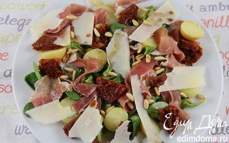 Рецепт Итальянский салат с картофелем, пармской ветчиной, руколой и кедровыми орешками