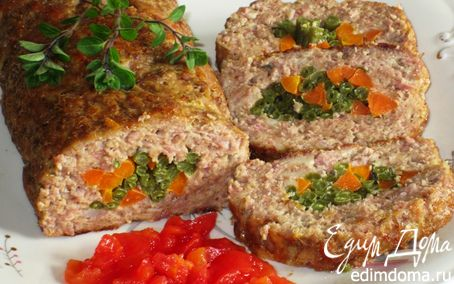 Рецепт Мясной рулет с морковью и стручковой фасолью
