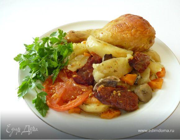 Куриное жаркое с грибами и вялеными помидорами